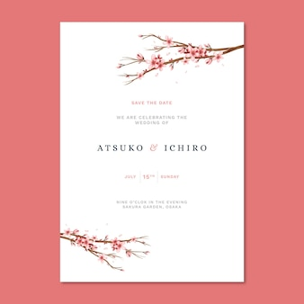 Japanese wedding invitation with sakura flowers