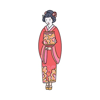 Japanese woman in red traditional clothes or kimono cartoon character, sketch  illustration  on white background. asian oriental culture symbol.