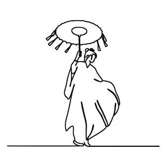 Японские женщины oneline непрерывная линия искусства премиум векторы