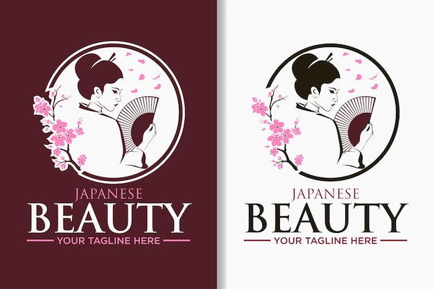 日本の女性の美しさのロゴとラベル