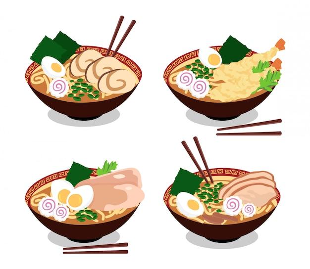 Japanisse ramen dishes, delicious oriental food