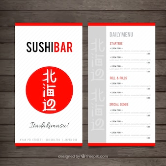 Japonese menu template with red circle