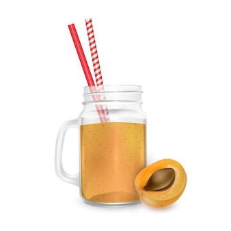 Jar of apricot smoothie with striped straw