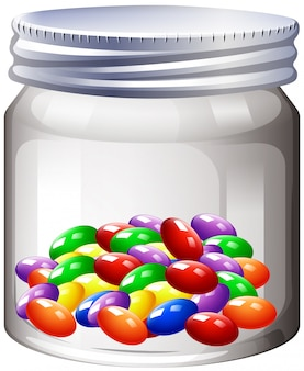 Jar of colorful candy