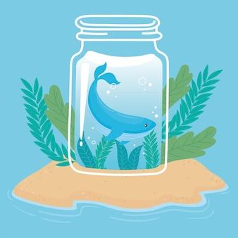 Баночка милый крошечный кит с водой на острове песок океан мультфильм