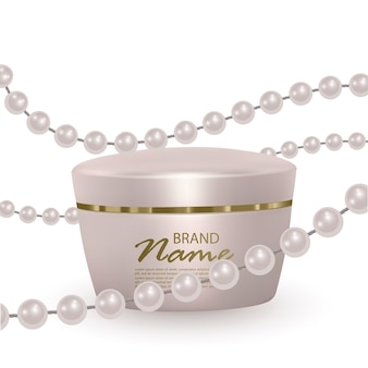 Jar of face cream on a background of pearl strands