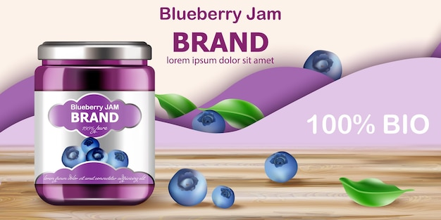 Jar filled with bio jam surrounded by blueberries and purple waves in background. place for text. realistic