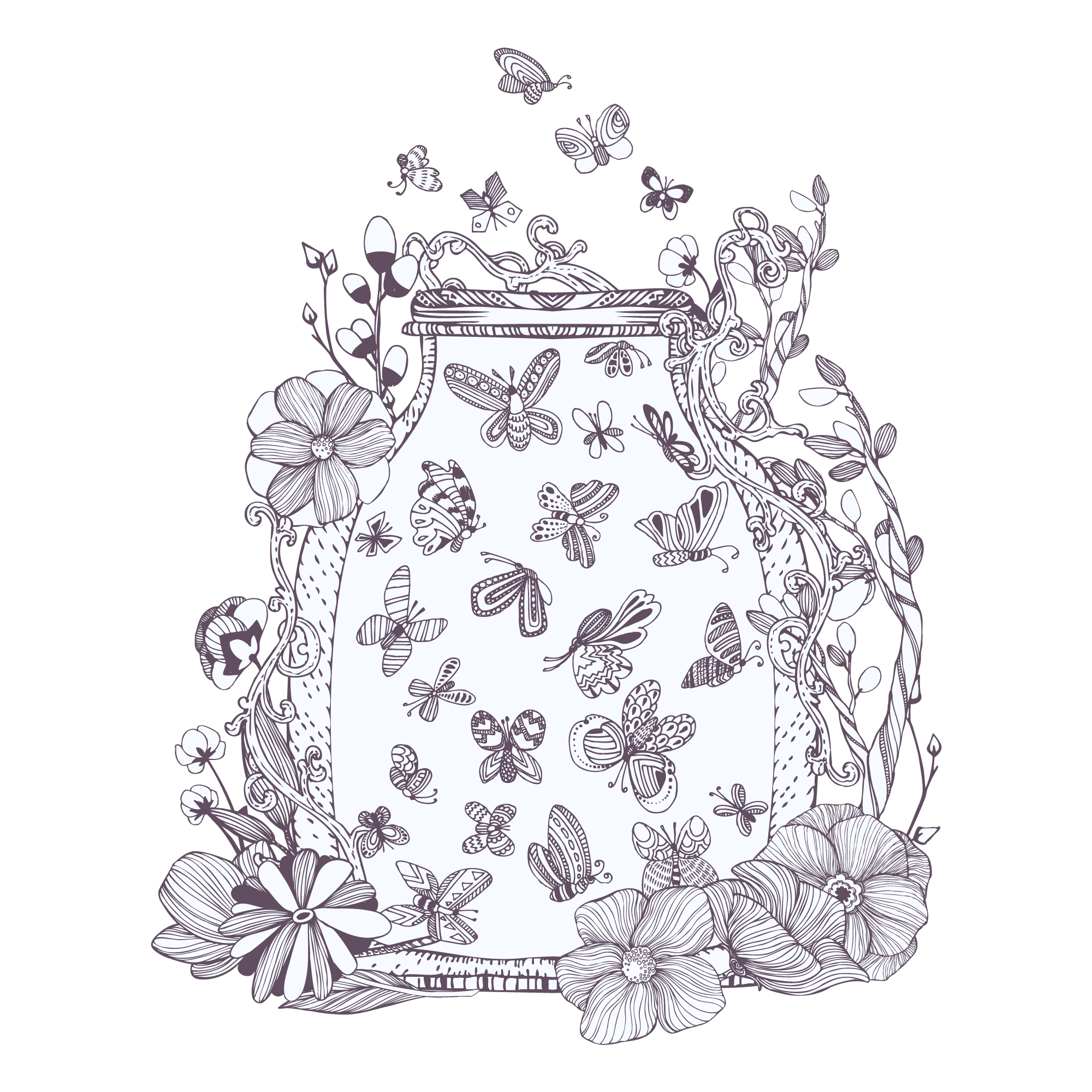 Jar full of butterflies illustration