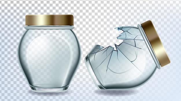 Jar glass and broken bottle with golden cap