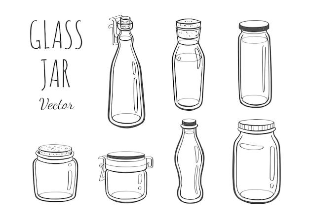 ジャムやその他の製品のジャーガラス手描きイラスト