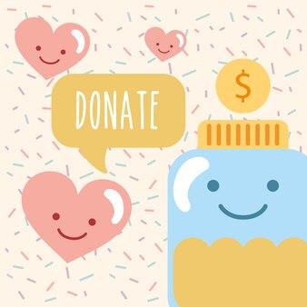 Jar glass kawaii coin love hearts donate