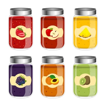 Jar glasses with jelly and fruits