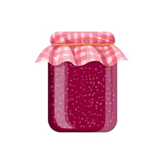 Jar of homemade raspberry jam. cartoon illustration.