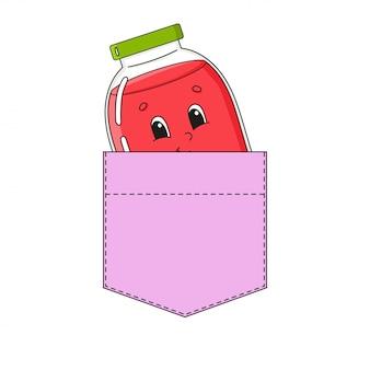 Jar of jam in shirt pocket.