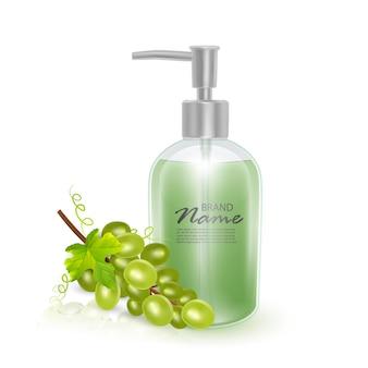 シャンプーまたは液体石鹸の化粧品の瓶