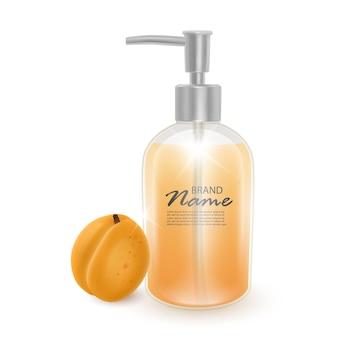 Банка шампуня или жидкого мыла с ароматом абрикоса