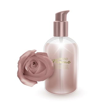 Jar of shampoo or liquid soap with the scent of rose
