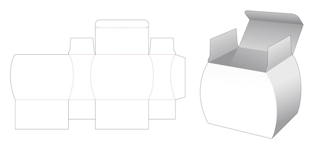 Jar shaped packaging box die cut template