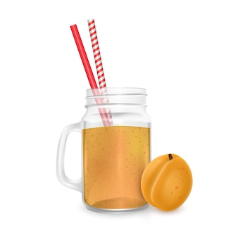 The jar of smoothies of apricot with striped straw