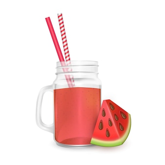 The jar of smoothies of watermelon with striped straw for cocktails