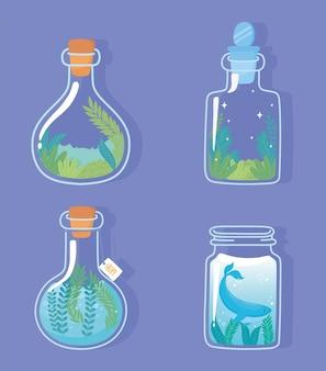 Jar terrarium with whale unicorn and rabbit plants foliage nature decoration and cork