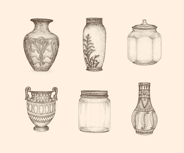 手描きスタイルの瓶ヴィンテージイラスト