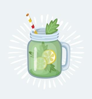 Баночка с яблочным смузи с полосатой соломкой. стакан для коктейлей с ручкой. яблочные свежие фрукты. иллюстрация в стиле