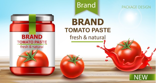 Jar with fresh and natural paste with tomatoes and flowing juice near by. realistic