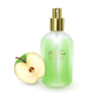 Jar with green perfume on a green apple background