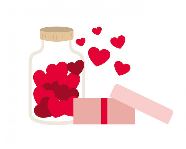 Jar with hearts isolated icon