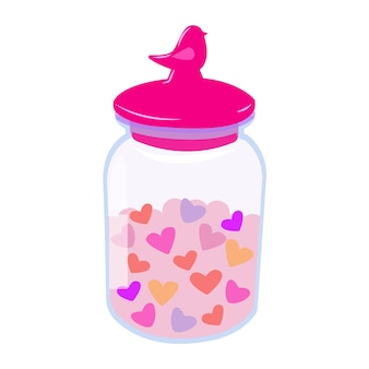 Jar with a lid with hearts bottle with hearts romantic illustration for valentines day on white