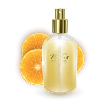 Баночка с апельсиновыми духами на фоне дольки апельсина
