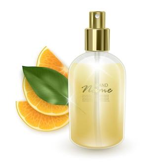 Jar with orange perfume on a with orange slices background