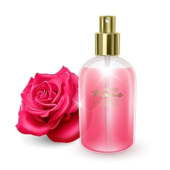 Баночка с розовыми духами на фоне красной розы