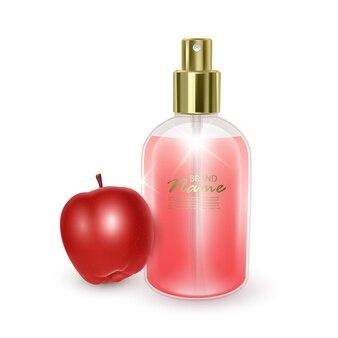 Баночка с красными духами на красном яблоке