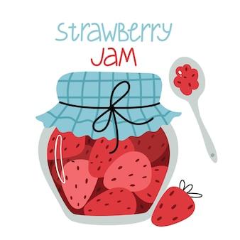 Jar with strawberry jam in cartoon style.