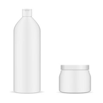 Круглая белая бутылка и косметический набор jar