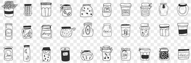음식 낙서 세트에 대한 항아리와 용기. 손의 컬렉션은 투명 배경에 고립 보존 식품 잼 곡물 및 곡물을 유지하기 위해 다양한 모양과 형태의 유리 항아리를 그려