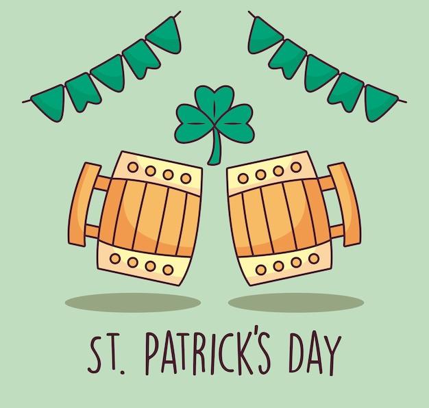 Jars of beer wooden st patrick day