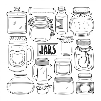 Jars hand drawn doodle coloring