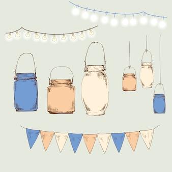 Jars. set of jars and flags
