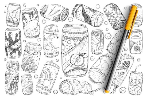 飲み物の落書きセットの瓶。分離された金属製のボトルに手描きのフルーツレモネードソーダとリフレッシュドリンクのコレクション。