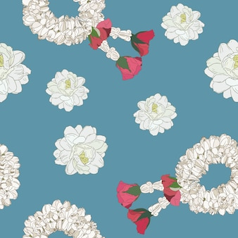 Jasmine flower and garland , hand draw sketch seamless pattern.