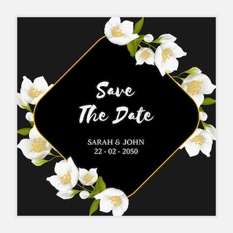Jasmine flower save the date card template