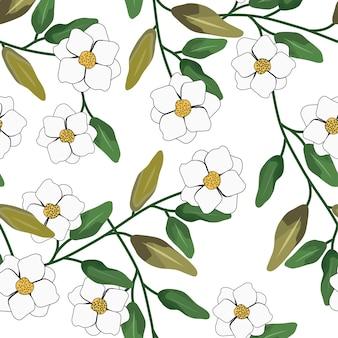 Jasmine flower seamless pattern and background
