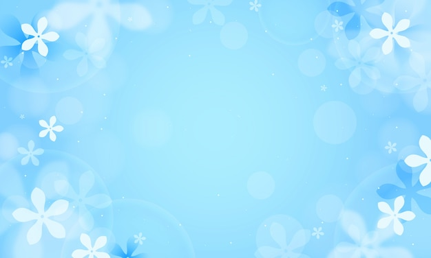Jasmine flowers on blue bokeh design