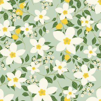 Jasmine flowers and lemon pattern background