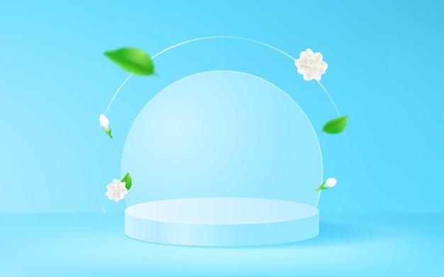 水色の製品ステージディスプレイの背景とジャスミンの花
