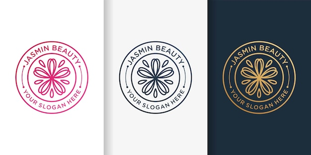 Jasmine logo with emblem line art style and business card design template premium vector