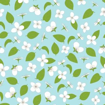 재스민 원활한 패턴 handdrawn 꽃과 잎 자연 배경
